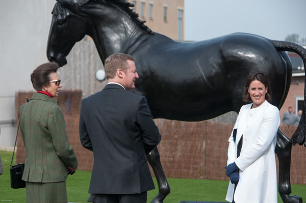 Her Royal Highness The Princess Royal with Stuart Reid, Principal of the Royal Veterinary College and Camilla.