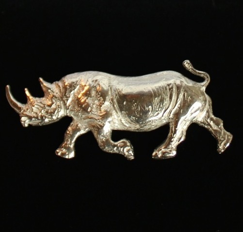 Black rhino ~ Silver brooch.